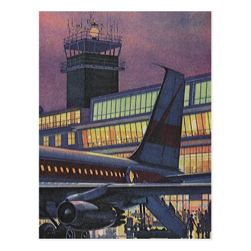 Aeropuerto del vintage, pasajeros que suben al aer postales