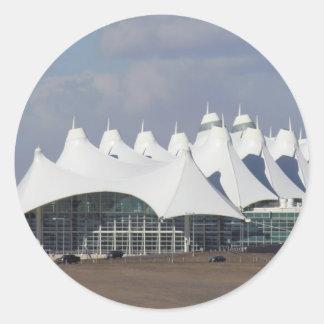 Aeropuerto internacional Buildin terminal Pegatina Redonda