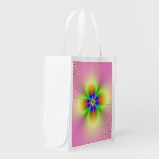 Aerosol de la flor en bolso de ultramarinos rosado bolsas reutilizables