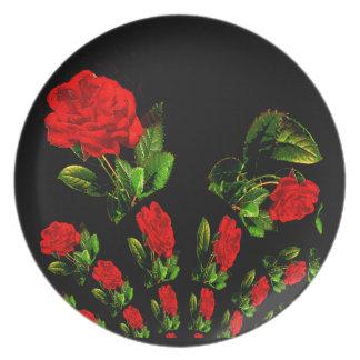 Aerosol del diseño del fractal de los rosas rojos platos