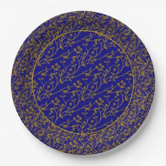 Aerosol floral, PLACAS del FIESTA de GOLD-BLUE Platos De Papel