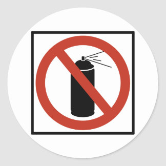 Aerosol Spray Prohibition Highway Sign Round Sticker