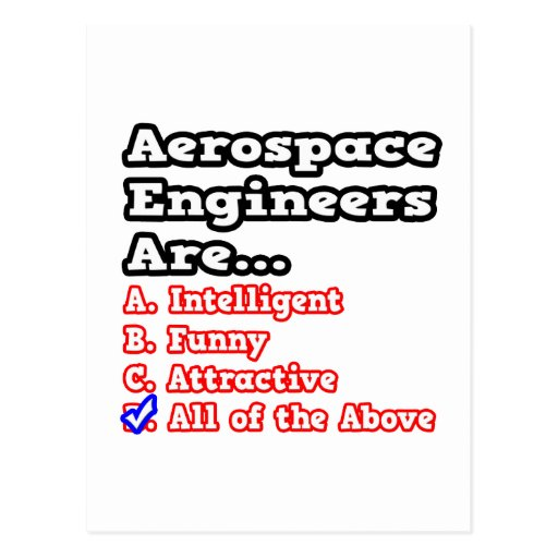 Aerospace Engineers Quiz...Joke Postcard