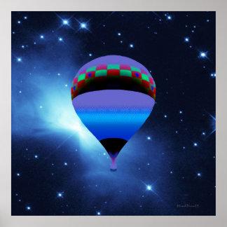 Aerostación con las estrellas impresiones