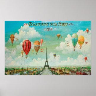 Aerostación sobre el poster de París Póster