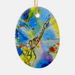 Aeshna Dragonfly Double-Sided Oval Ceramic Christmas Ornament