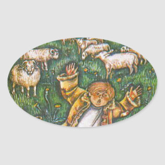 Aesop's fables, the boy who cried wolf oval sticker