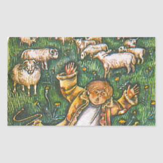 Aesop's fables, the boy who cried wolf rectangular sticker