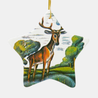 Aesop's fables, the deer and his reflection ceramic ornament
