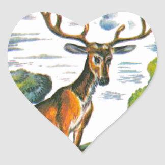 Aesop's fables, the deer and his reflection heart sticker