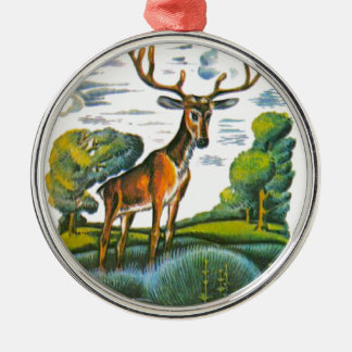 Aesop's fables, the deer and his reflection metal ornament