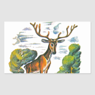 Aesop's fables, the deer and his reflection rectangular sticker
