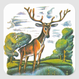 Aesop's fables, the deer and his reflection square sticker
