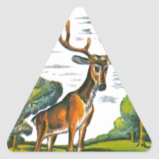Aesop's fables, the deer and his reflection triangle sticker