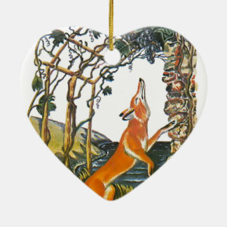 Aesop's fables, the fox and the grapes ceramic ornament