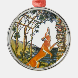 Aesop's fables, the fox and the grapes metal ornament
