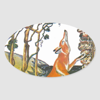 Aesop's fables, the fox and the grapes oval sticker
