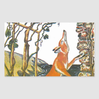 Aesop's fables, the fox and the grapes rectangular sticker