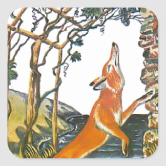 Aesop's fables, the fox and the grapes square sticker