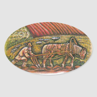 Aesop's fables, the ploughman and the fields oval sticker