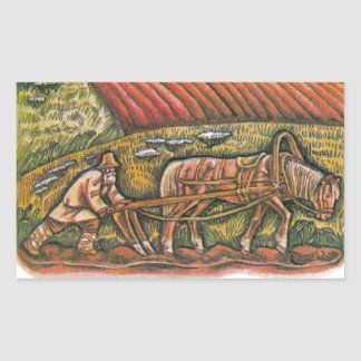 Aesop's fables, the ploughman and the fields rectangular sticker