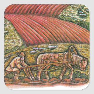 Aesop's fables, the ploughman and the fields square sticker