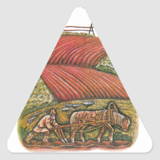 Aesop's fables, the ploughman and the fields triangle sticker