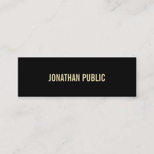 Aesthetic Modern Black Gold Text Elegant Simple Mini Business Card