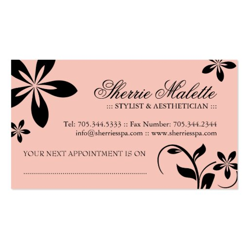 Aesthetician Business Cards (back side)