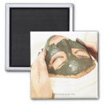 Aesthetician Who Rubs Mud Pack on Womans Face, 2 Inch Square Magnet