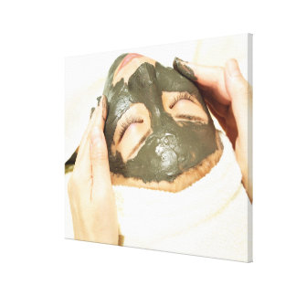 Aesthetician Who Rubs Mud Pack on Womans Face, Canvas Print