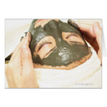 Aesthetician Who Rubs Mud Pack on Womans Face, Card