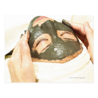 Aesthetician Who Rubs Mud Pack on Womans Face, Postcard