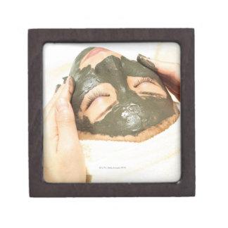 Aesthetician Who Rubs Mud Pack on Womans Face, Premium Keepsake Box