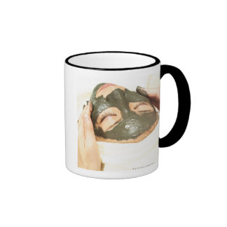 Aesthetician Who Rubs Mud Pack on Womans Face, Ringer Mug