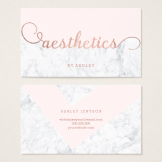 Aesthetics color block rose gold typography marble business card