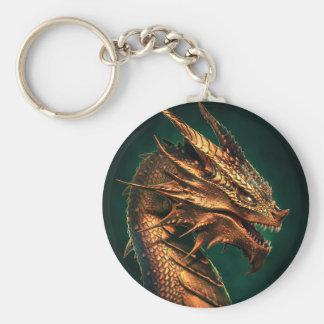 """""""Aeternum"""" Copper Dragon Basic Round Button Keychain"""