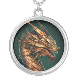 """""""Aeternum"""" Dragon of Requiem Round Pendant Necklace"""