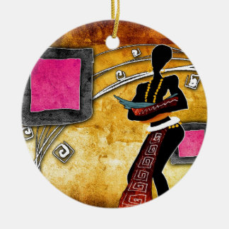 af058 Africa retro vintage style gifts Double-Sided Ceramic Round Christmas Ornament