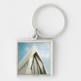 AF Academy Cadet Chapel Silver-Colored Square Keychain