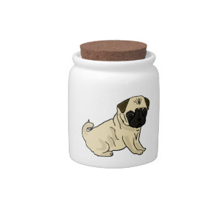 AF- Adorable Pug Dog Candy Jar