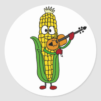 AF- Corn Playing Fiddle or Violin Classic Round Sticker