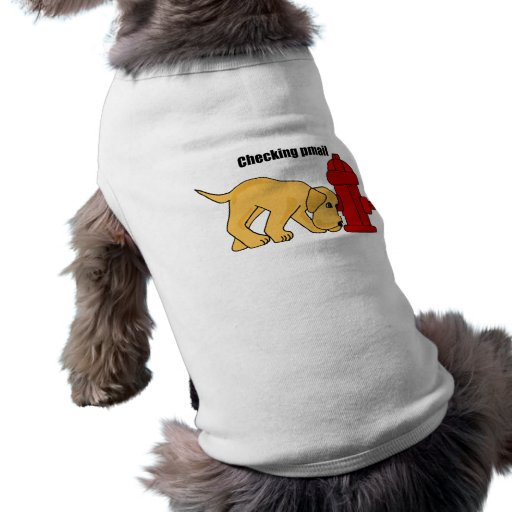 AF- Cute Puppy Dog Checking pmail Fire Hydrant Dog Tee
