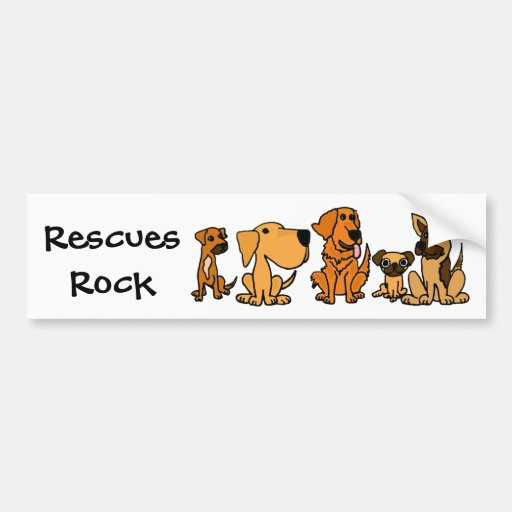 AF- Funny Rescue Dogs Group Cartoon Bumper Stickers