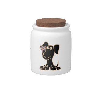 AF-  Puppy with Butterfly Pets Treats Jar Candy Dish