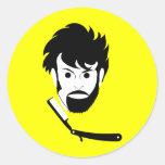 Afeitado - hombre que afeita la barba - barba pegatinas redondas