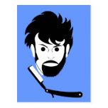 Afeitado - hombre que afeita la barba - barba postal