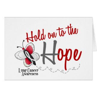 Aferrar de la mariposa 2 del cáncer de pulmón a la tarjeta de felicitación