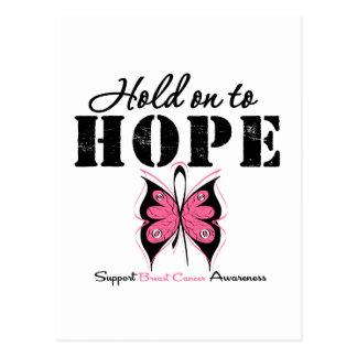 Aférrese para esperar al cáncer de pecho tarjeta postal