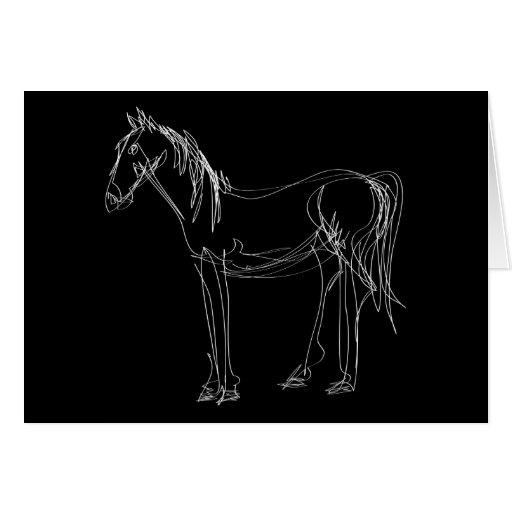 Afewliner Horse Black Folding Card